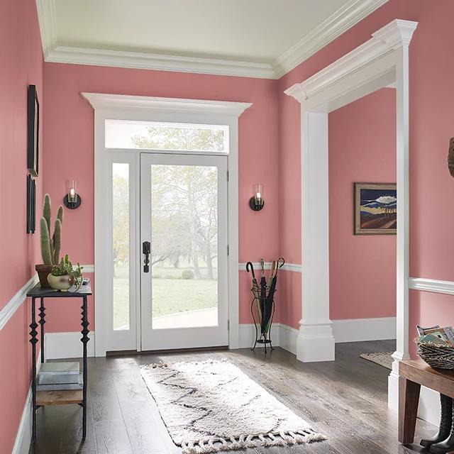 Foyer painted in WATERMELON CRUSH