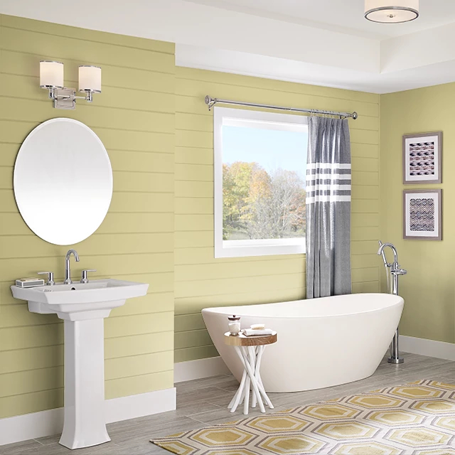Bathroom painted in LIME TART