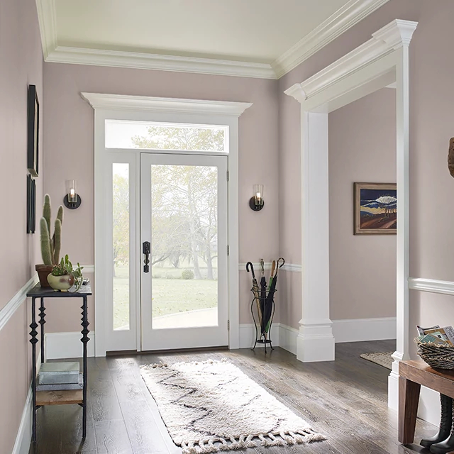 Foyer painted in SIMPLY TAUPE