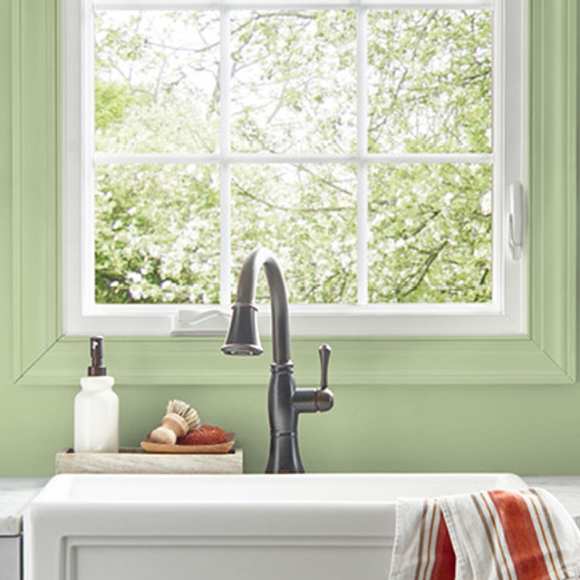 Kitchen painted in SUBTLE CELERY