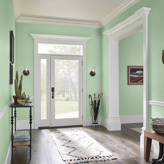 Foyer painted in WILD LETTUCE