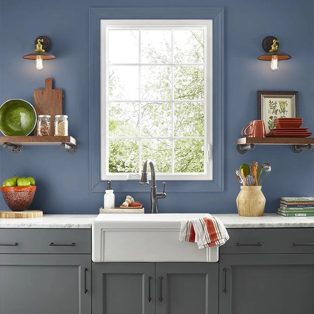 Kitchen painted in AUTHENTIC NAVY