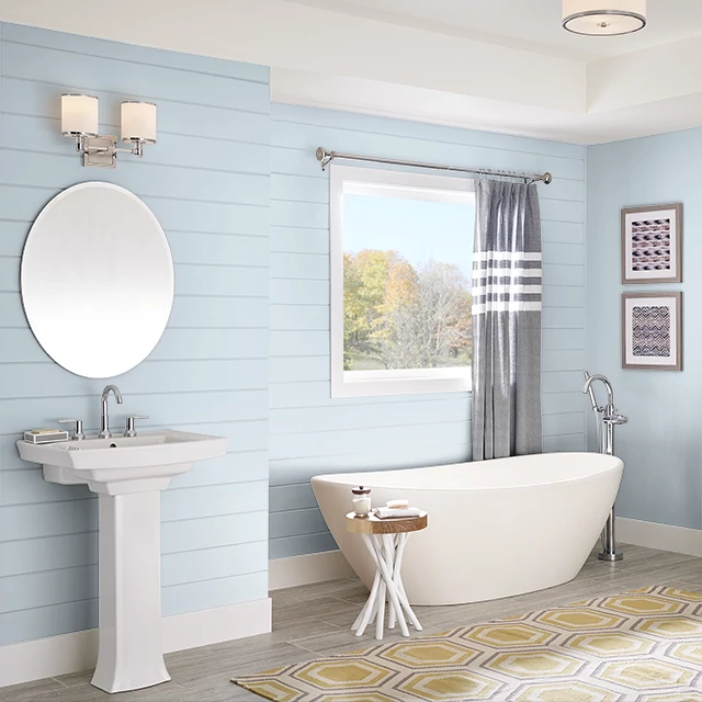 Bathroom painted in AIRY BLUE