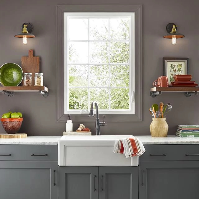 Kitchen painted in BITTERSWEET BROWN