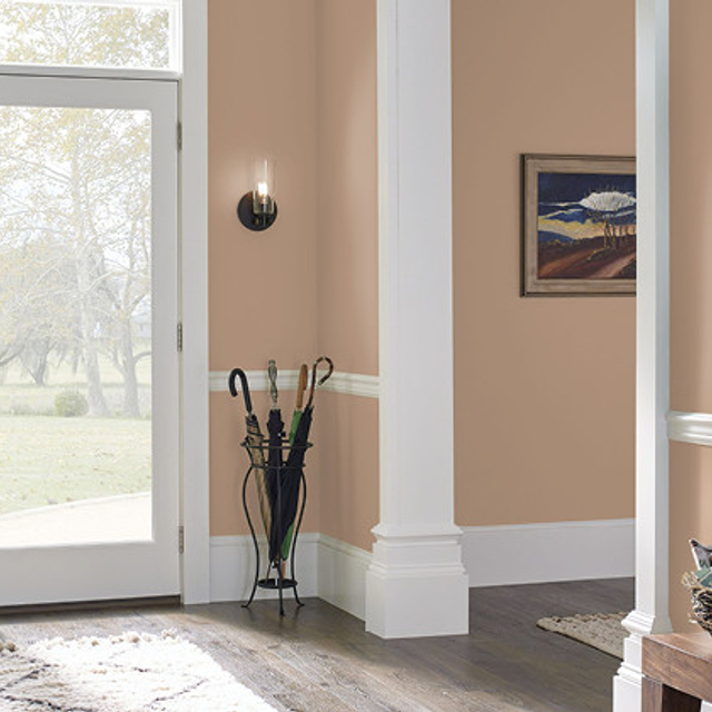 Foyer painted in POTTERY BEIGE
