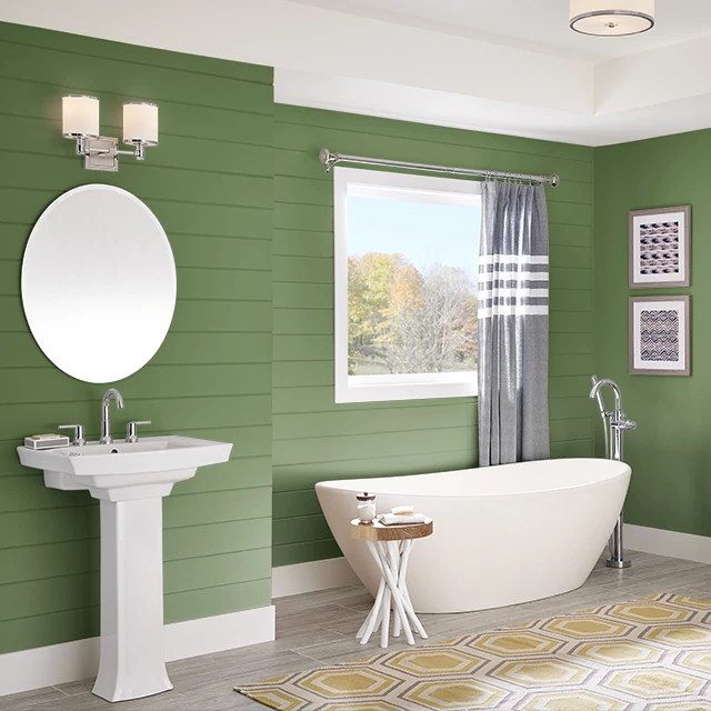 Bathroom painted in PICKLE JUICE