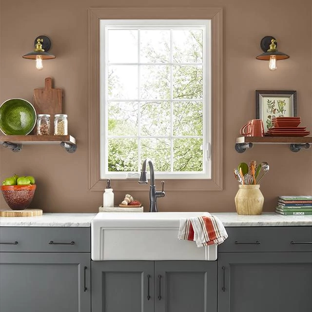 Kitchen painted in CARAMEL NUT