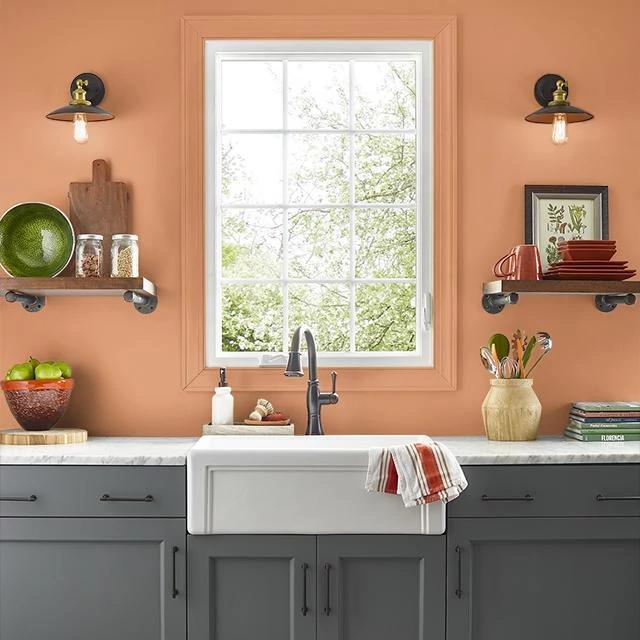 Kitchen painted in POM POM ORANGE