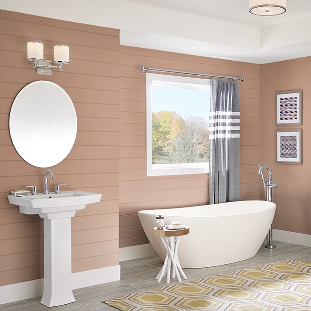 Bathroom painted in SPICED APRICOT