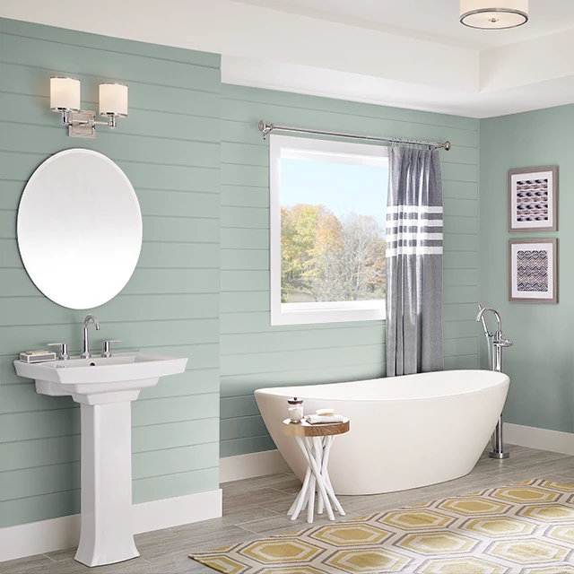 Bathroom painted in SAGE POND