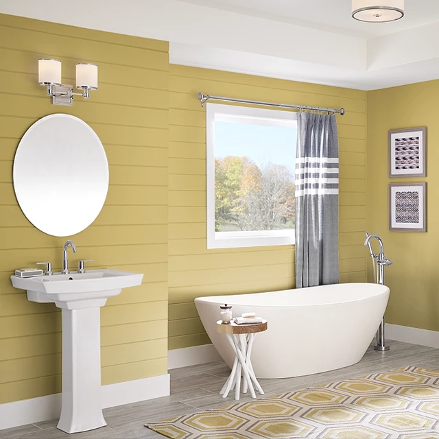 Bathroom painted in SUMMER CHARTREUSE