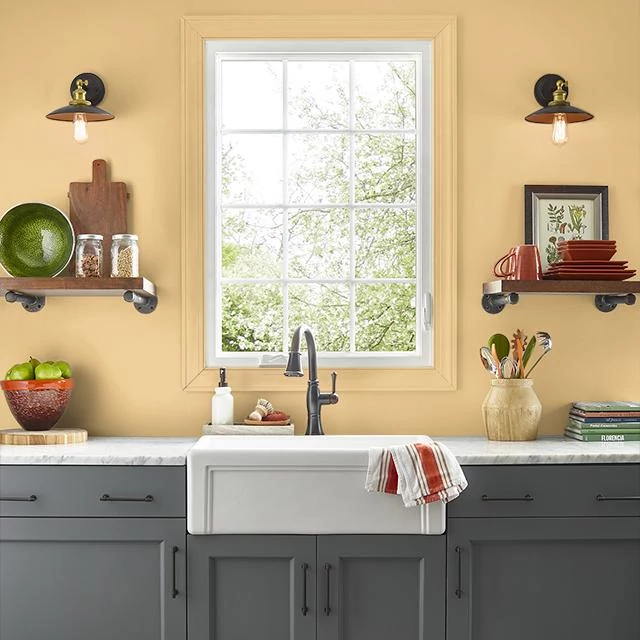 Kitchen painted in HONEY BEE