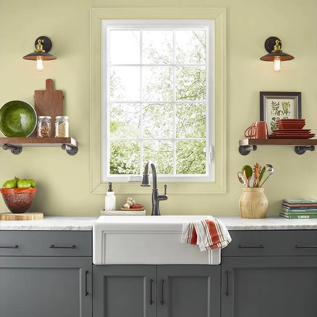 Kitchen painted in CUCUMBER