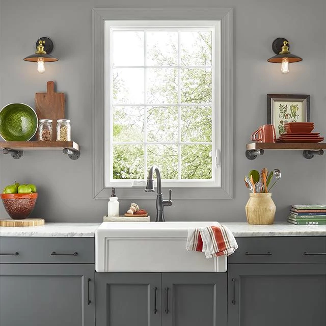 Kitchen painted in APPROACHING STORM