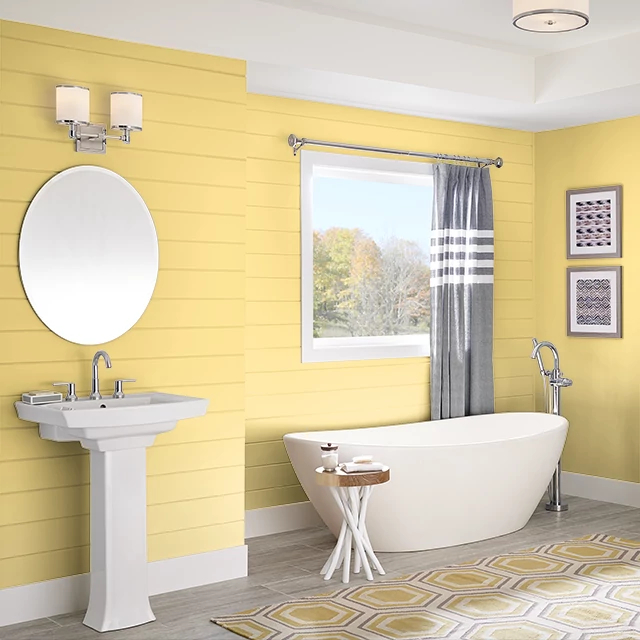 Bathroom painted in GLORY YELLOW