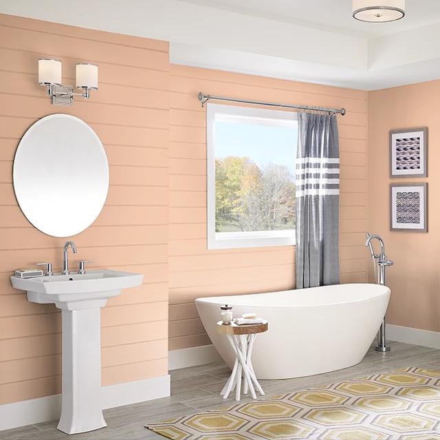 Bathroom painted in PETITE PEACH