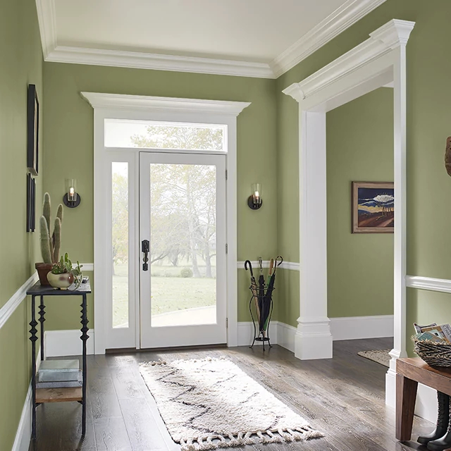 Foyer painted in GROOVY GREEN
