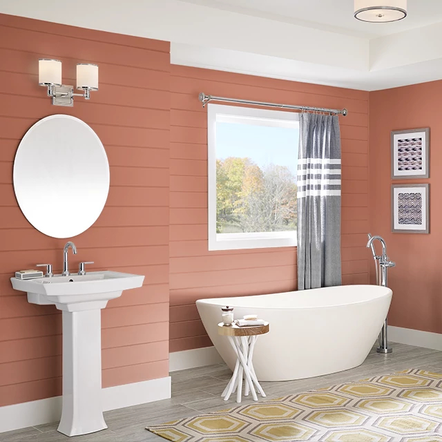 Bathroom painted in LOBSTER TAIL
