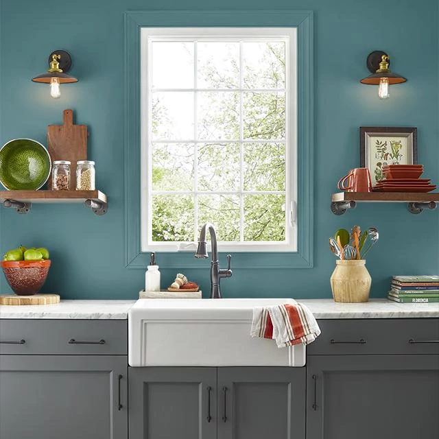 Kitchen painted in TEMPEST