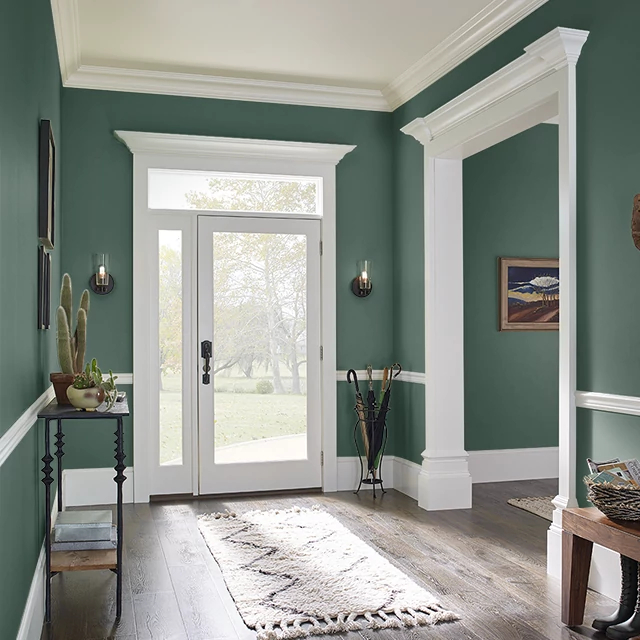 Foyer painted in DEEP SPRUCE