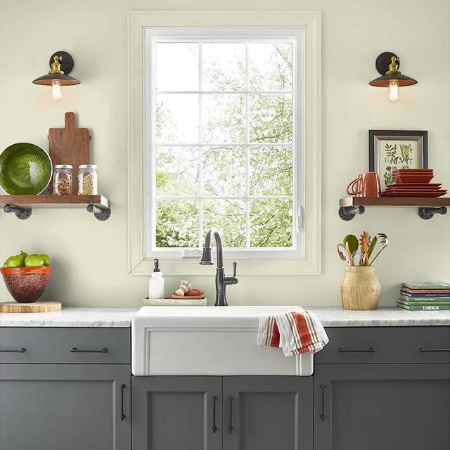 Kitchen painted in DRIED LICHEN