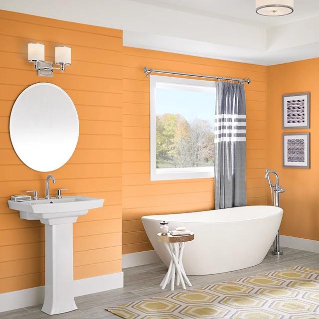 Bathroom painted in BITTERSWEET ORANGE