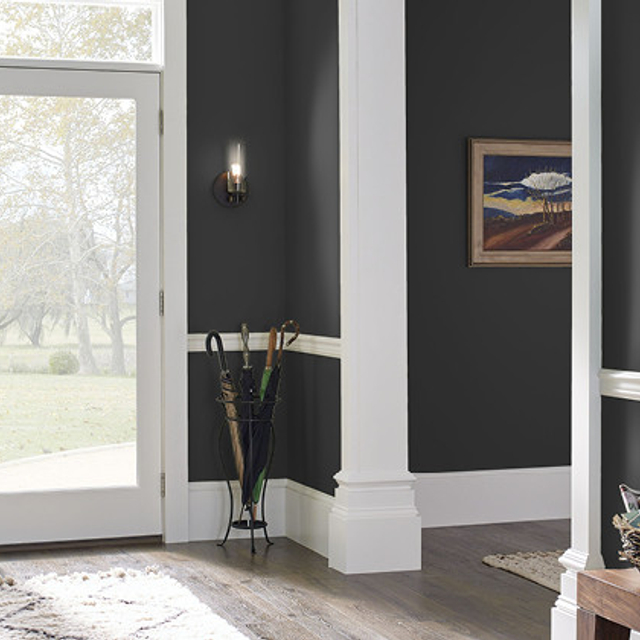 Foyer painted in MYSTIC BLACK
