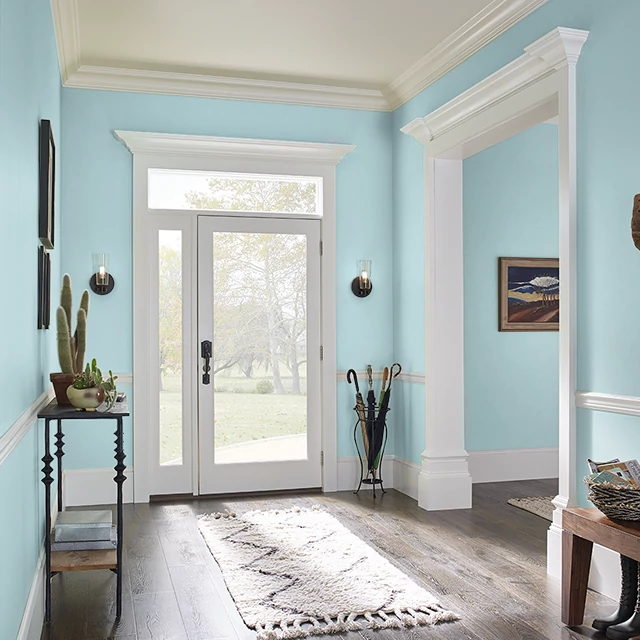 Foyer painted in DROP OF TEAL