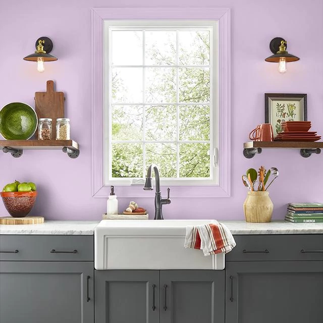 Kitchen painted in YOUTHFUL PINK