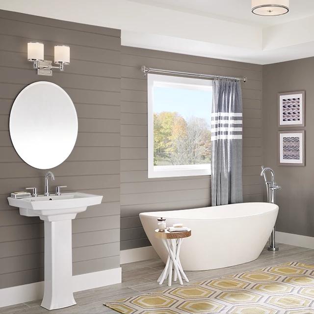 Bathroom painted in WALNUT SHELL
