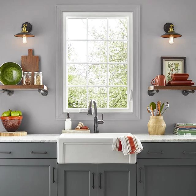 Kitchen painted in PIGEON GRAY