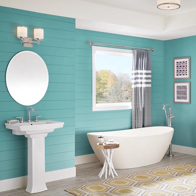 Bathroom painted in DEEP TURQUOISE