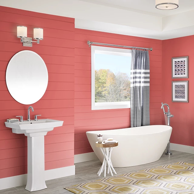 Bathroom painted in HIBISCUS TEA