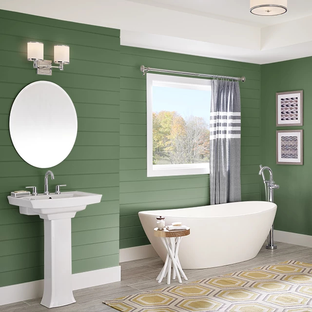 Bathroom painted in FLOWER LEAF