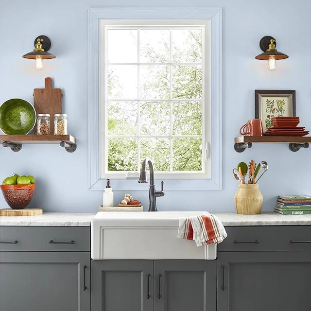 Kitchen painted in IDYLLIC BLUE