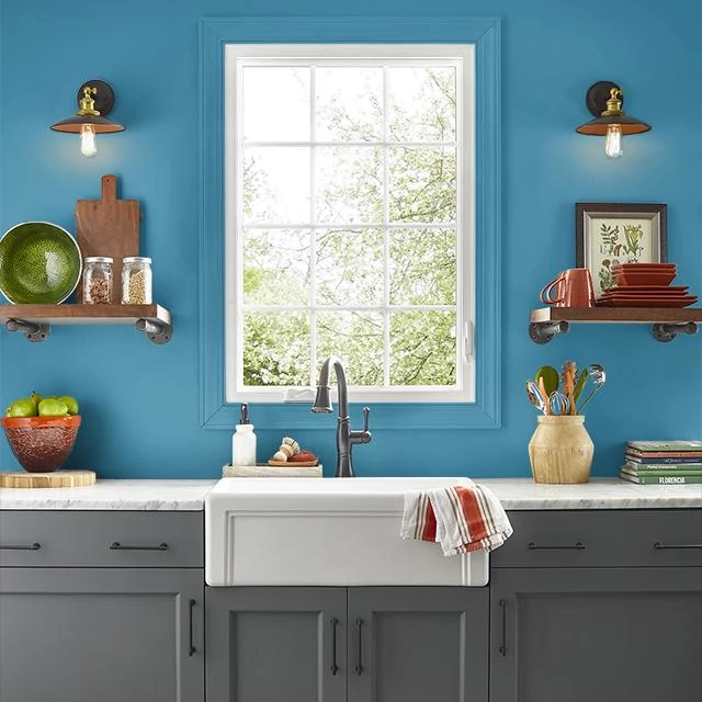 Kitchen painted in BLUE SPLASH