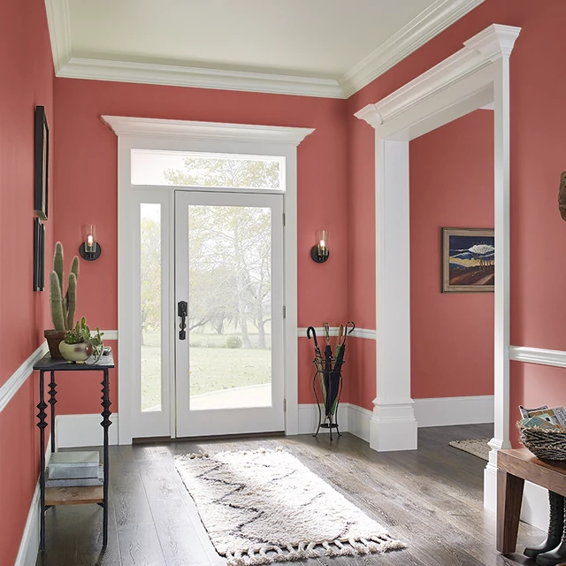 Foyer painted in RED FLARE