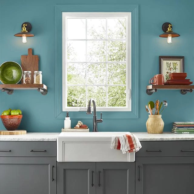 Kitchen painted in LOMBARDY LAKE