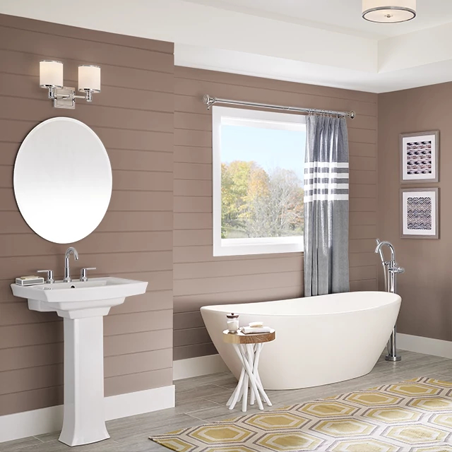 Bathroom painted in FINE LEATHER