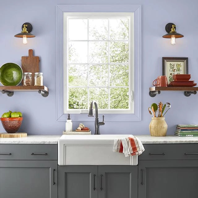 Kitchen painted in HUSH LILAC