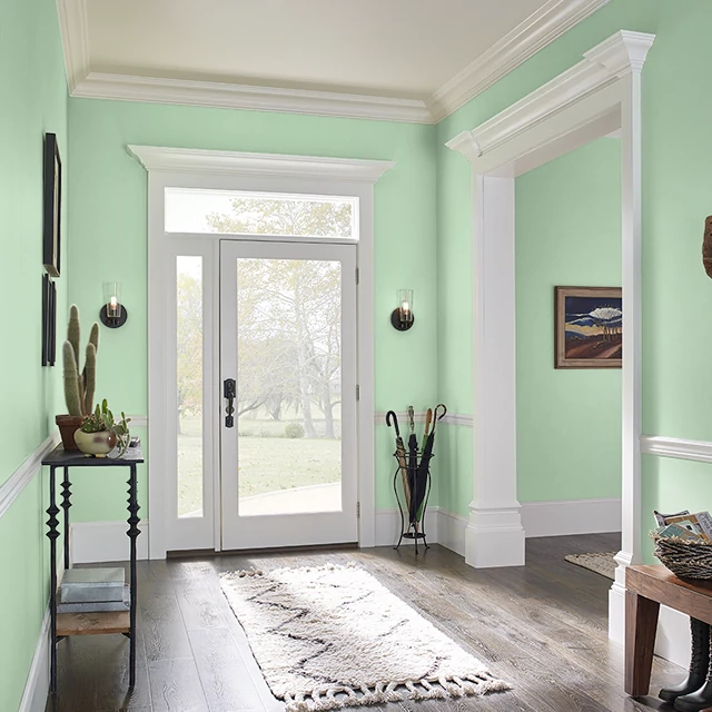 Foyer painted in POLISHED JADE