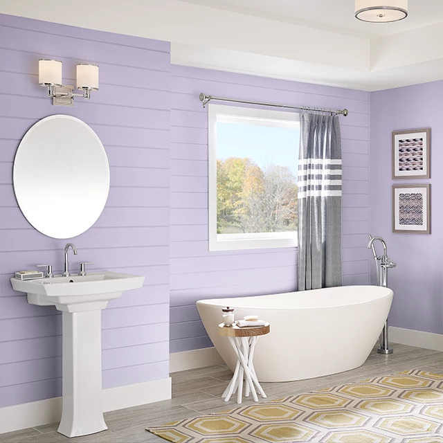 Bathroom painted in FEBRUARY AMETHYST