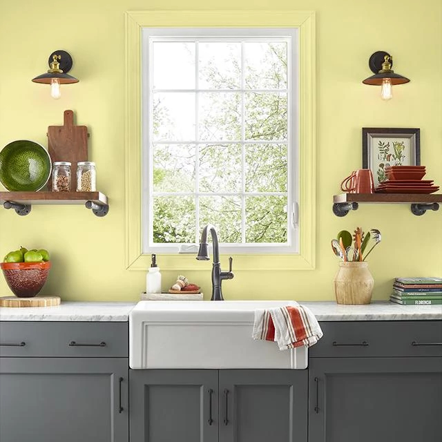 Kitchen painted in YELLOW GREEN
