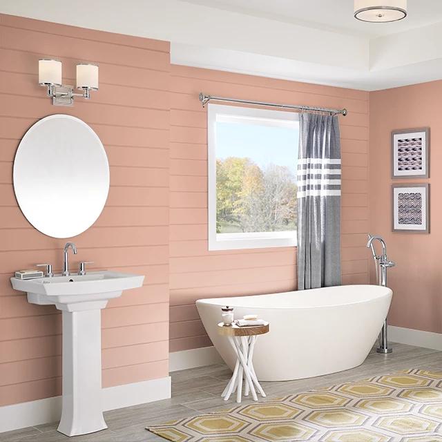 Bathroom painted in ORANGE GINGER