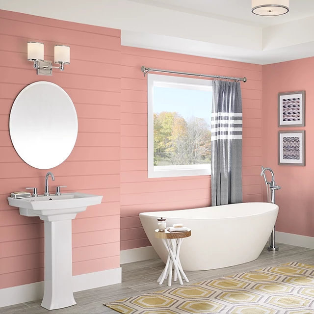 Bathroom painted in CORAL RIDGE