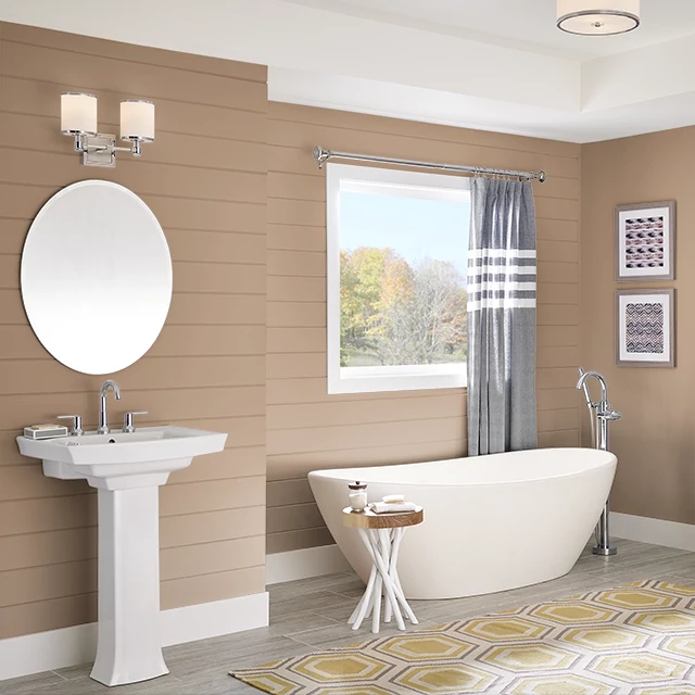 Bathroom painted in CARAMELIZED