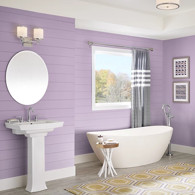 Bathroom painted in FASHION PINK