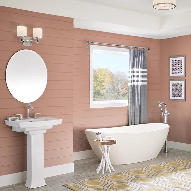Bathroom painted in BAKED CINNAMON