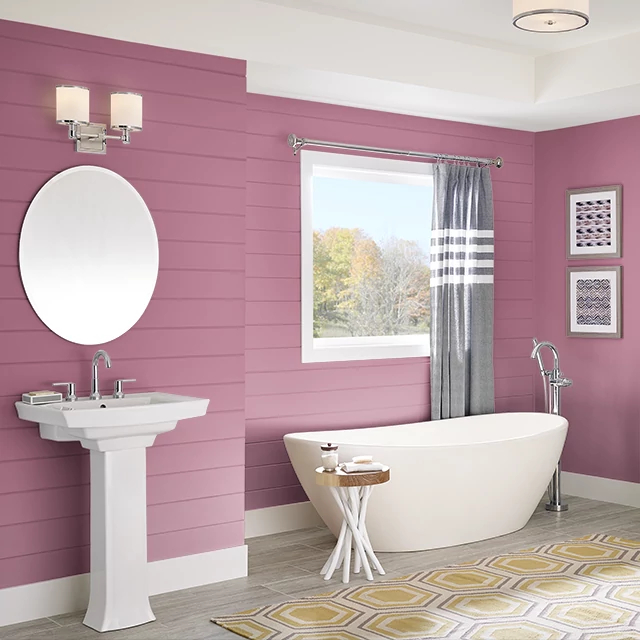 Bathroom painted in PEAKING PINK