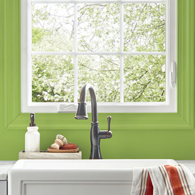 Kitchen painted in LUSH GREEN